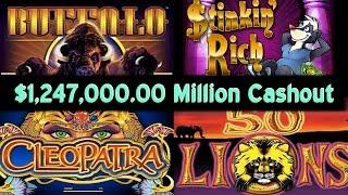 •$1,240,500.00 Million Video Slot Machine Jackpot Handpay Cashout Casino Stinkin Rich, 50 Lions, • S