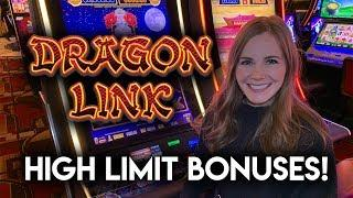 High Limit Dragon Link! Autumn Moon and Happy And Prosperous Slot Machines! BONUSES!!