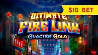 Ultimate Fire Link Glacier Gold Slot - $10 Bet - GREAT SESSION, ALL FEATURES!