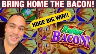 ★ Slots ★ RAKIN' BACON SLOT MACHINE HUGE BIG WIN!!! ★ Slots ★| Zeus Unleashed 1st Spin Bonus!! ★ Slo