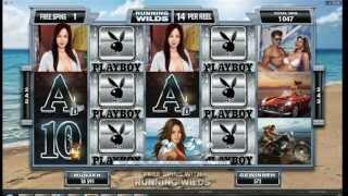 Playboy Slot Microgaming  - Running Wilds Feature - Big Win