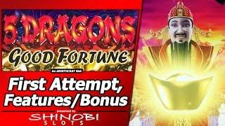 5 Dragons Good Fortune Slot - Live Play, Random Wilds, Jackpot Feature and Free Spins