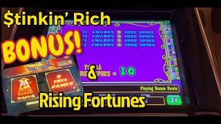 Stinkin' Rich Bonus and Live Play but where's the real cash ? Rising Fortunes