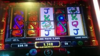 Dragon's Temple Slot Machine Bonus Line Hit - 3 Wild Reels