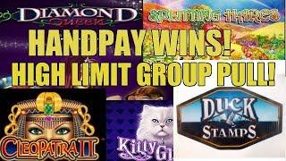 HANDPAYS! HIGH LIMIT GROUP SLOT MACHINE PULL-VEGAS FANATICS