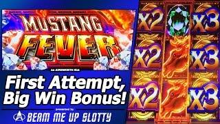 Mustang Fever Slot - First Attempt, Live Play and Big Win Free Spins Bonus