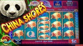 China Shores BIG BONUSES!!! Max Bet 1c Konami Slot in Morongo Casino