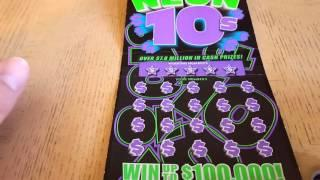NEW! WASHINGTON STATE LOTTERY $100,000 NEON 10'S. SCRATCH OFF WINNER. $40 FREE FOR YOU!!
