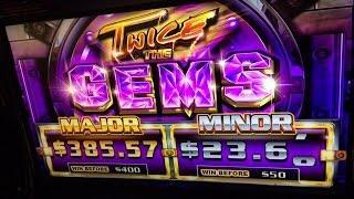 Twice the Gem Slot Bonuses BIG WINS - Ainsworth