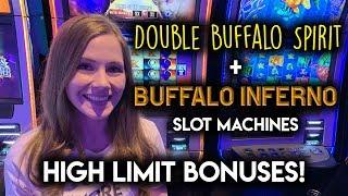 Double Buffalo Spirit Slot Machine! High Limit Buffalo Inferno! $15/Spin BONUSES!