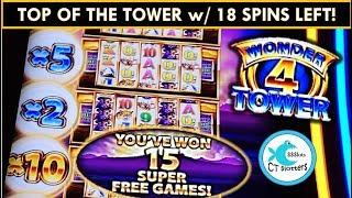 TOP OF THE TOWER WITH 18 SPINS LEFT! Wonder 4 Tower Slot Machine - BUFFALO