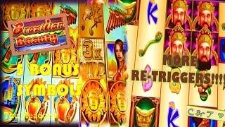 BIG WINS!! 5 Symbol Bonus, Retriggers GALORE & MAX BET • Slot Machine Bonus ~ WMS•