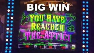 Haunted House After Dark 2 bonus rounds ATTIC and BIG WIN Live Play Multimedia Las Vegas