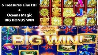 88 Fortunes Huge Line Hit + Oceans Magic Big Win in the Bonus ! Aria Las Vegas
