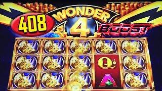 •408 FREE RHINO CHARGE SPINS• GIVE ME THAT BOOST!? - WONDER 4 BOOST - Slot Machine Bonus Win