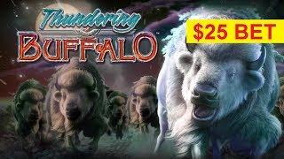 Thundering Buffalo Slot - $25 MAX BET - GREAT SESSION, YES!!!
