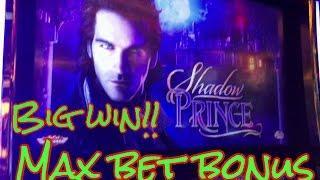 BIG WIN!! Shadow Prince Slot Machine, Max Bet Bonus, 2 FULL SCREEN WINS!! Live play
