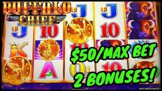 HIGH LIMIT Buffalo Chief $50 MAX BET Bonus Round Slot Machine Casino