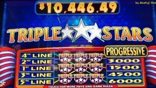 YAY•Big Profit/ Triple Stars Slot - Max Bet $5 •Triple RED HOT - 5 Lines@San Manuel Casino 赤富士スロット