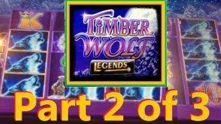 BIGGER WIN! Timber Wolf Legends Slot Machine Bonus!  ~ Aristocrat (Timber Wolf Part 2 Of 3)