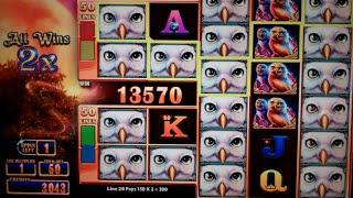 Great Owl Slot Machine Bonus - 5 Free Games with Locked Wilds + Stacked Wilds - HUGE WIN
