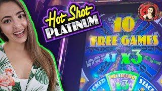 10 Free Games at 3X on Hot Shot Platinum Slot Machine!