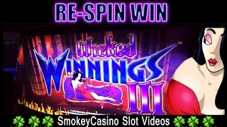 WICKED WINNINGS 3 Slot Machine Nice Re-spin -Aristocrat