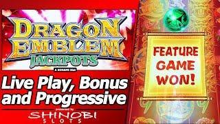 Dragon Emblem Jackpots Slot - Live Play, Free Spins and Progressive in New Konami game