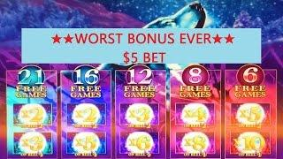 Timber Wolf Slot Machine •Worst Bonus Ever • !!! $5 Bet •Live Play•
