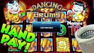•JACKPOT HANDPAY!!• DANCING DRUMS Slot Machine - Long Play with Bonus and HUGE WIN!!••