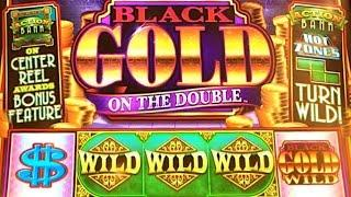 "DOUBLE! DOUBLE! DOUBLE!! BLACK GOLD ON THE DOUBLE (BALLY) ""BIG WIN"" Slot Machine Bonus"