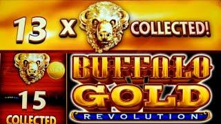 ⋆ Slots ⋆Buffalo Gold Revolution ALL 15 GOLD HEADS 5 coin trigger⋆ Slots ⋆