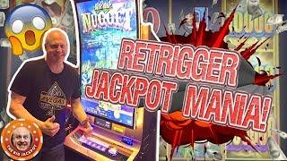 45 FREE GAME$ RETRIGGER AND JACKPOT! •HUGE PLAY on Wild Wild Nugget! •What Else Could You Ask For?