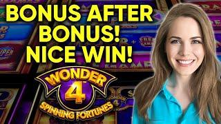 Nice BONUS Wins! Great Session On Wonder 4 Spinning Fortunes Slot Machine!