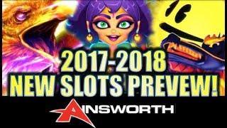 •2017 PRE-G2E NEW AINSWORTH SLOTS PREVIEW!• Las Vegas Showroom Visit | Slot Machine Bonus