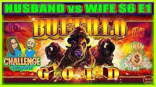 SUCH A EASY WIN! Buffalo Gold Slot Machine | HUSBAND vs WIFE CHALLENGE ( S6 Ep1 )