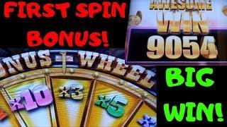 FIRST SPIN Big Win•GOLD WEDGE •Buffalo Grand• (Retriggers)