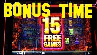Quick Hit Volcano Live Play max bet $3.00 with BONUS 15 FREE GAMES Slot Machine