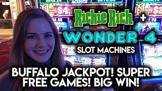 Wonder 4 Buffalo Progressive Jackpot + Super Free Games BIG WIN! Richie Rich Jackpot JUMP!!!