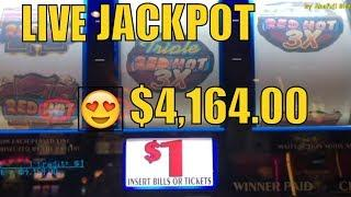Jackpot Live•Triple Double Red Hot 9 Lines / Triple Diamond Strike 9 Lines Slot @ San Manuel Casino