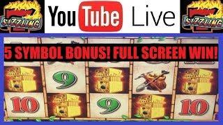 LIVE PLAY with RARE 5 SYMBOL BONUS! Sizzling Slot Jackpots HIGH LIMIT Casino Videos