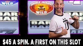 • $45/Spin - a FIRST on This Slot: Double JACKPOT • Lion's Share