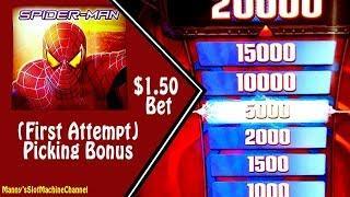 New!! ( First Attempt ) Spider Man Slot Machine by Bally Picking Bonus on $1.50 bet