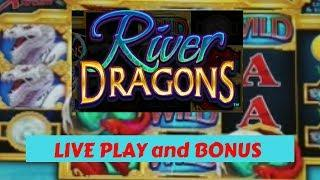 RIVER DRAGONS Slot Machine Live Play and Bonus * Thunder Valley Casino