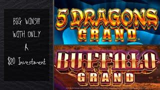 Big Wins!!! - 5 Dragons Grand and Buffalo Grand Bonuses and Live Play at Barona Casino