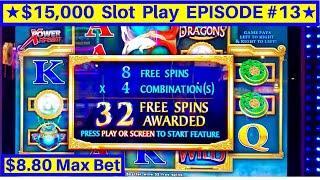 River Dragons Slot Machine $8.80 Max Bet Bonus w/RETRIGGER | EPISODE-13 | Live Slot Play w/NG Slot