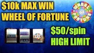 $50/spin HIGH LIMIT MAX WIN Wheel of Fortune Slots JACKPOT