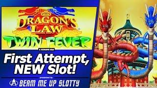 Dragon's Law Twin Fever Slot - First Attempt, Live Play/Dragon Feature in New Konami game