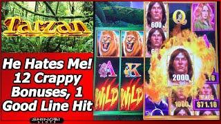 Tarzan Grand Slot - He Hates Me •.  12 Crappy Bonuses, 1 Good Line Hit