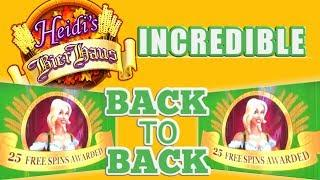 Heidi's Bier Haus Slot Machine Play   BIG WIN   Back to back 25 spin bonuses